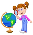 Cartoon girl using magnifying glass looking at glo vector image vector image