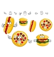 Cartoon isolated fast food characters vector image vector image