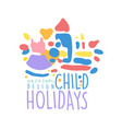child holidays logo design colorful hand drawn vector image vector image