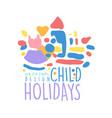 child holidays logo design colorful hand drawn vector image