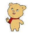 comic cartoon teddy bear wearing scarf vector image vector image
