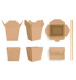 craft paper wok boxes and chopsticks vector image