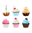 cupcakes desserts sweets muffins with cream and vector image vector image