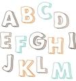 Cute hand drawn font letters set A-M