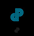 d p letter monogram consist some crossed lines vector image vector image