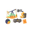 extraction and processing of oil set production vector image