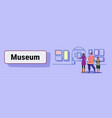 family at exhibition in contemporary art gallery vector image vector image
