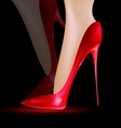 feet in the red shoes vector image vector image