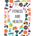 fitness and health flat poster vector image vector image