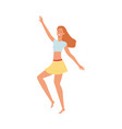 flat cute girl dancing at beach party vector image vector image
