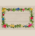 flower frame decorated with roses and leaves vector image vector image