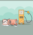 funny cartoon gas stations with financial problems vector image