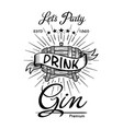 gin label vintage hand drawn border typography vector image vector image