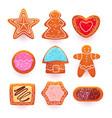 gingerbread cookies cartoon sweets set vector image