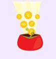 golden bitcoins falling in red wallet vector image vector image