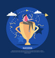 golden cup success background vector image vector image