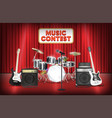 guitar bass drum and microphone band on show stage vector image