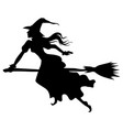 halloween witch on broom fly silhouette vector image vector image