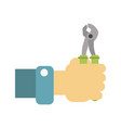 hand holding a wrench vector image vector image