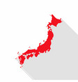 japan map with long shadow on white background vector image vector image