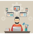 Man software engineer concept with design vector image