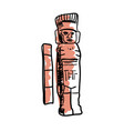 mayan statue hand drawn icon vector image