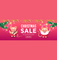 merry christmas sale banner with cute rats vector image