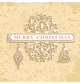 Merry Christmas vintage text card vector image vector image
