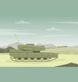 modern military tank in desert landscape flat vector image