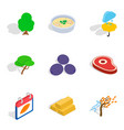 olericulture icons set isometric style vector image vector image