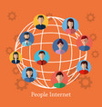people internet globe world connected vector image