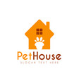 pet paw house logo design template vector image