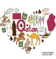 Qatar symbols in heart shape concept vector image vector image