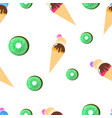 seamless pattern ice cream and kiwi vector image vector image