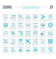 set blue line icons garage and car service vector image vector image