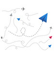 set colored paper airplanes with dotted flight vector image