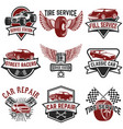 set of tire service car repair labels pistons car vector image vector image