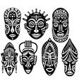 set of tribal african masks vector image