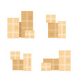set pile cardboard boxes vector image