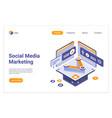 social media marketing isometric landing page vector image