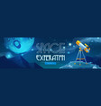 space exploration cartoon banner with telescope vector image