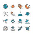 space in colorline icon set design vector image