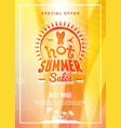 summer sale flyer or poster summer discount label vector image vector image
