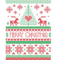 Tall merry Xmas pattern with reindeer in green red vector image vector image