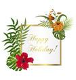 tropical frame floral summer leaf aloha design vector image vector image
