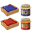 two flavor of jam and bread vector image vector image