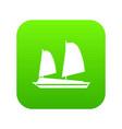 vietnamese junk boat icon digital green vector image vector image