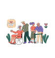 volunteers take care senior disabled people vector image