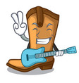 with guitar old cowboy boots in shape character vector image vector image