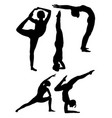 yoga woman gesture silhouette vector image vector image